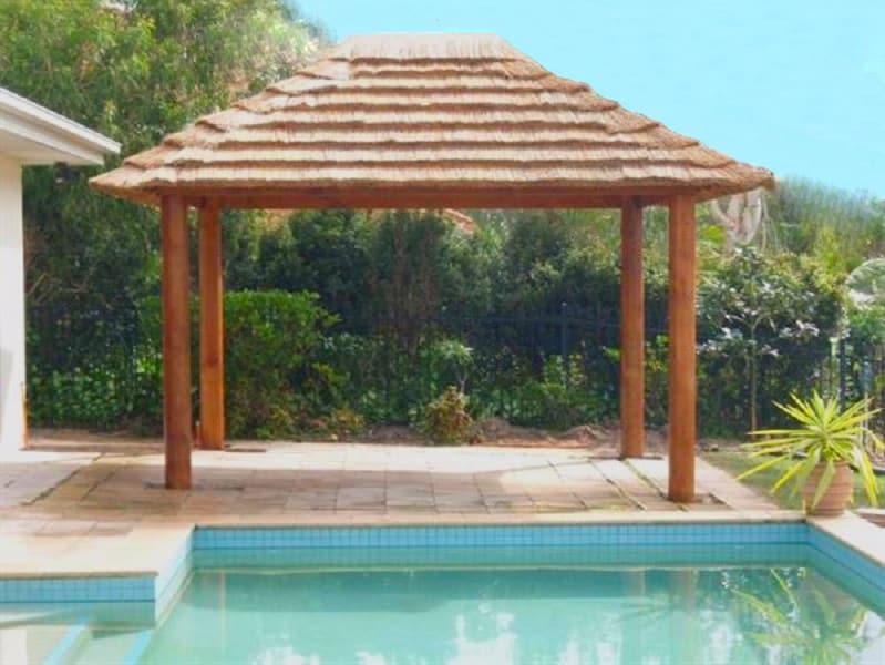 poolside bali style hut